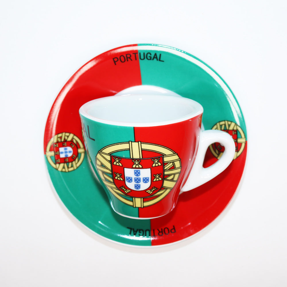 Porcelain Espresso Cup with Portugal Soccer Emblem available at Espresso Canada