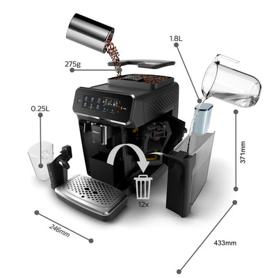Philips Saeco 3200 Series Superautomatic Espresso Machine Latte Go EP3241/54