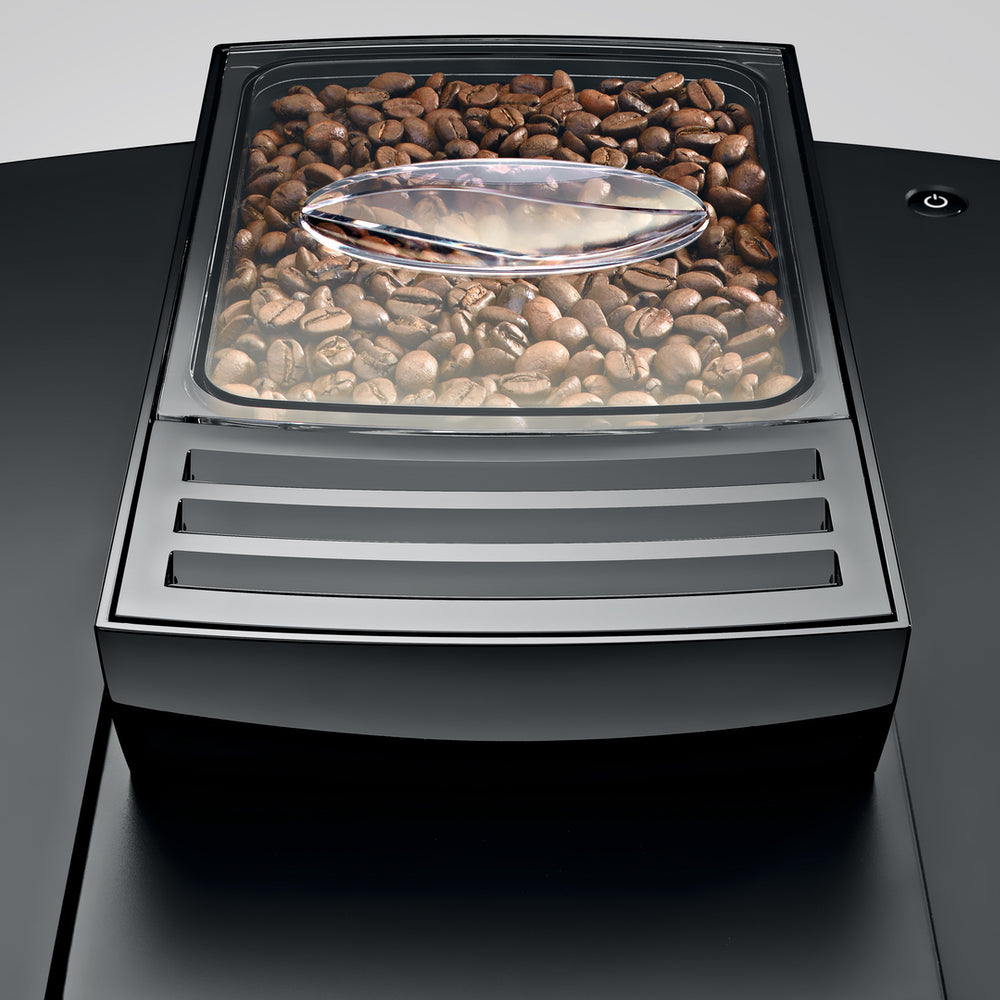 Jura WE8 Chrome Professional  bean hopper view