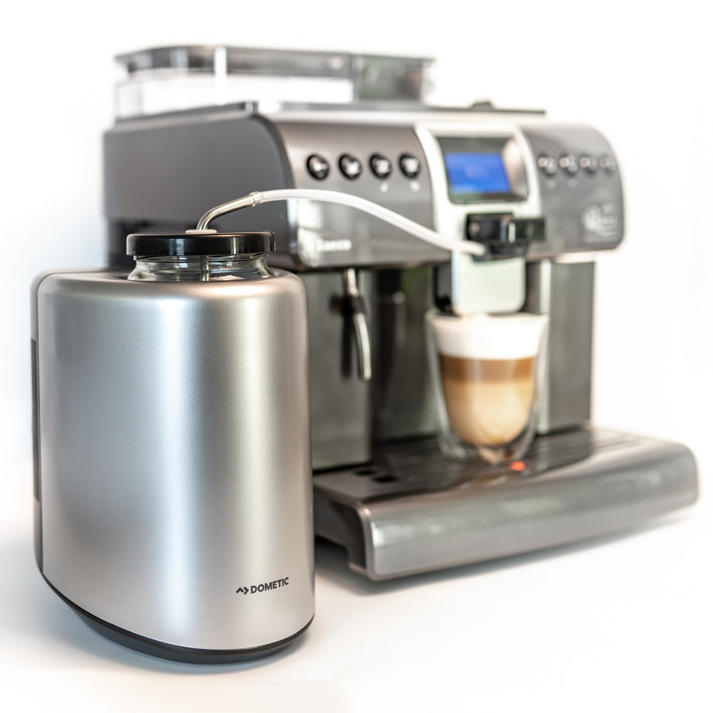 Saeco Royal One Touch  Super automatic espresso machine shown with Waeco Milk Fridge