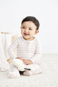 Boody Organic Bamboo Eco Wear - Long Sleeve Onesie Stripe Rose