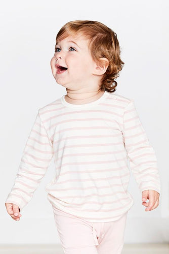 Boody Organic Bamboo Eco Wear - Baby Stripe Long Sleeve Top Chalk Rose