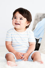 Load image into Gallery viewer, Boody Organic Bamboo Eco Wear Baby T-Short Chalk and Sky Stripe