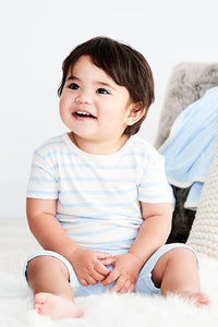Boody Organic Bamboo Eco Wear Baby T-Short Chalk and Sky Stripe