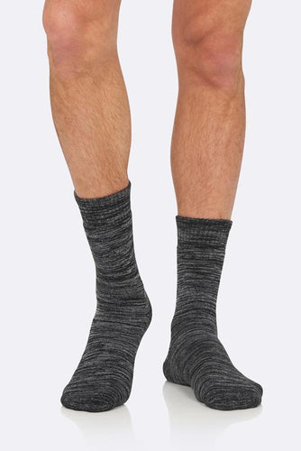 Boody Organic Bamboo Eco Wear Men's Work Boot Socks Black/Grey Space Dye