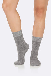 Boody Organic Eco Wear Women's Crew Boot Socks Grey Space Dye