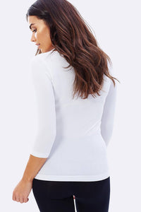 Women's 3/4 Scoop Top White - Boody Organic Bamboo Eco Wear
