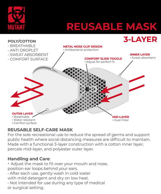 Re-Usable 3 Layer Digital Dark Grey Camo Mask - MUTANT