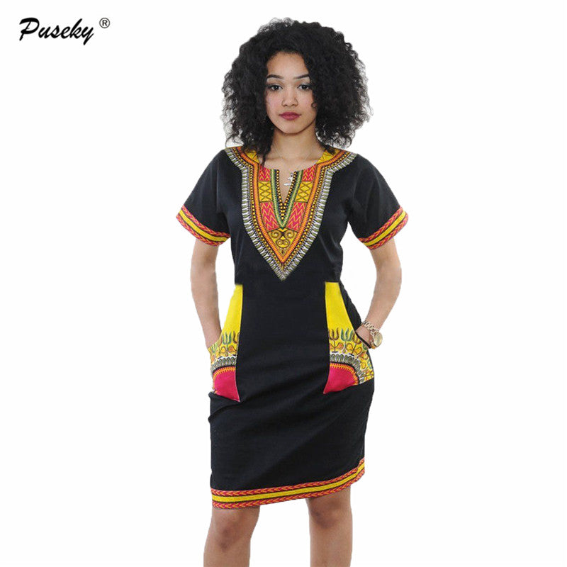 f59477f66659 Dashiki dress 2016 Summer Sexy African Print Shirt Dresses Femme Vintage  Mini hippie Plus Size Bohemian