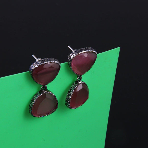 Triangular Stone Earring - Dark Pink - Ishhaara