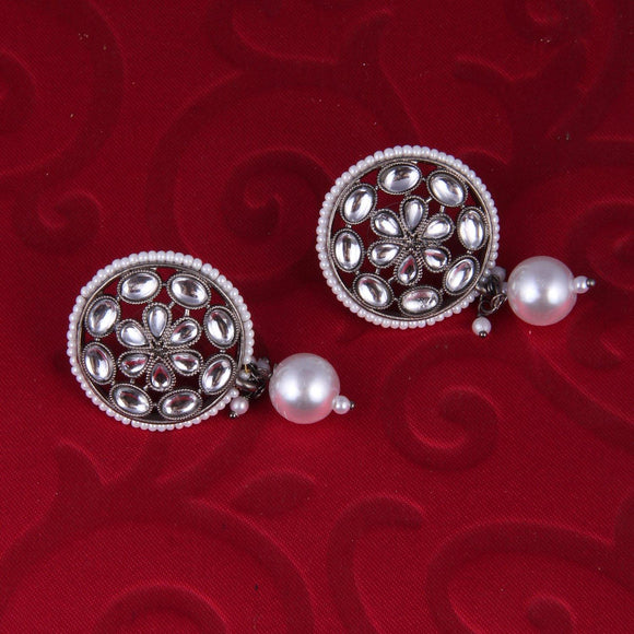 Oxidised Crystal Flower Stud with Pearl Drop - Ishhaara
