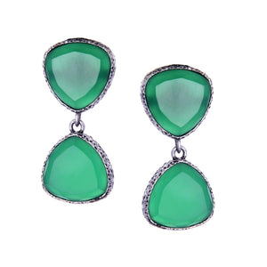 Triangular Stone Earring - Bottle Green - Ishhaara