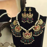 Meena chandbali Pendant necklace - Ishhaara