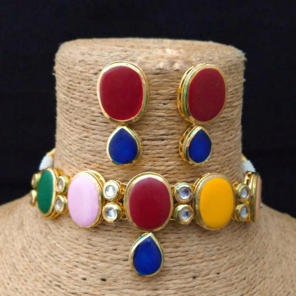 Multi color oval choker - Ishhaara