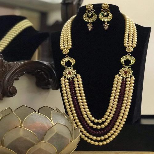2 Side Patch Moti Beads Necklace