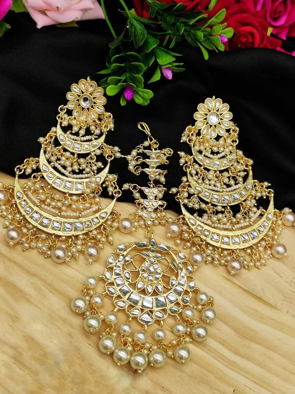 3 Layered Chand Earrings With Teeka - Ishhaara