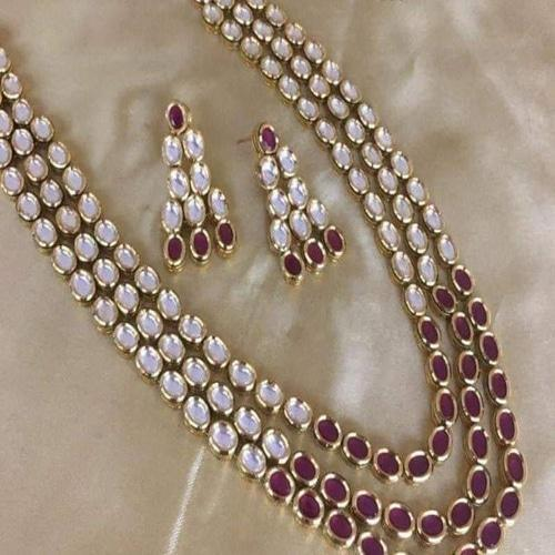 3 Line Kundan Ruby Necklace