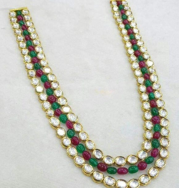 3 Line Mix Colored Kundan Moti Necklace