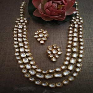3 Line oval Kundan Necklace