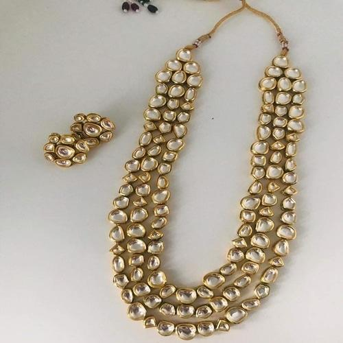 3 layered abstract Kundan Necklace - Ishhaara