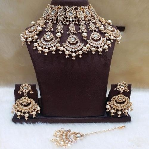 5 Chandbali Patchi Kundan Necklace - Ishhaara