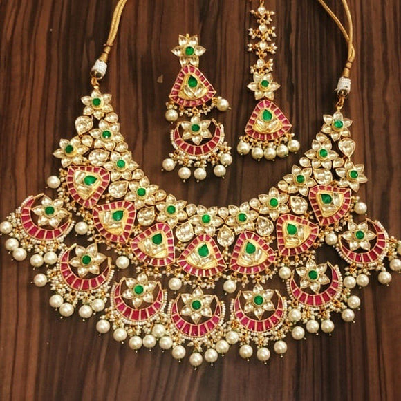 7 Chandbali Heavy A Bridal Necklace Set With Teeka