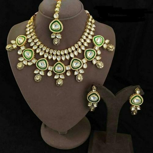 7 Triangular Meena AD Necklace Set