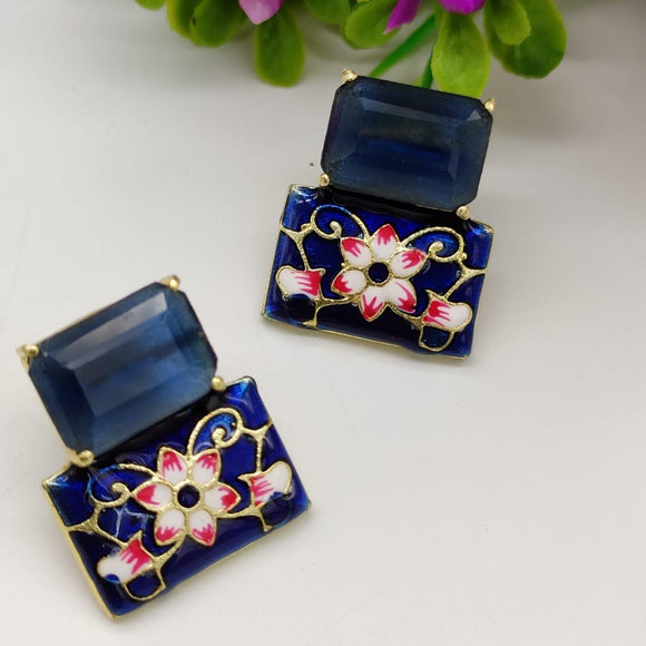 Tiny Square Hand Painted Earring - Ishhaara