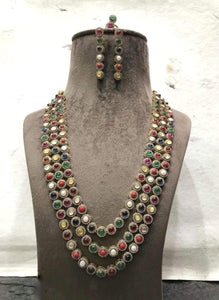 AD Gunmetal Round Semi Precsious Necklace - Ishhaara