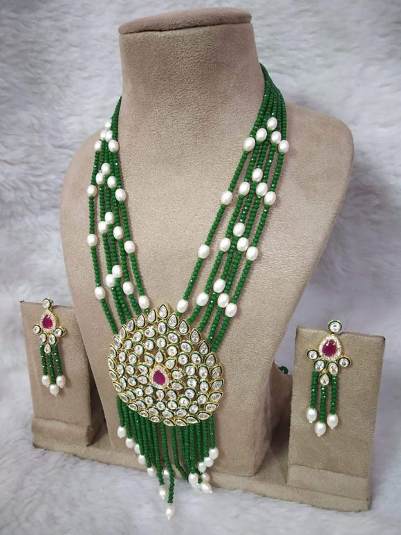 AD Kundan Big Pendant Necklace - Ishhaara