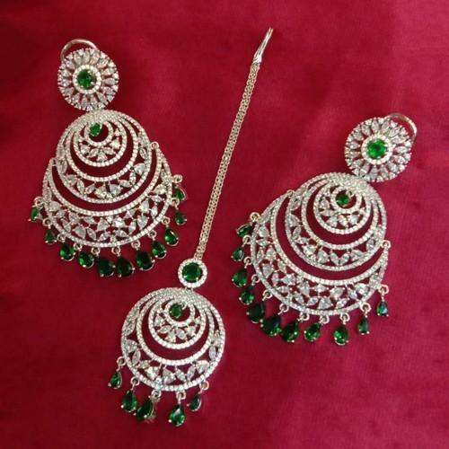 Ad Chandbali And Teeka Earrings Set