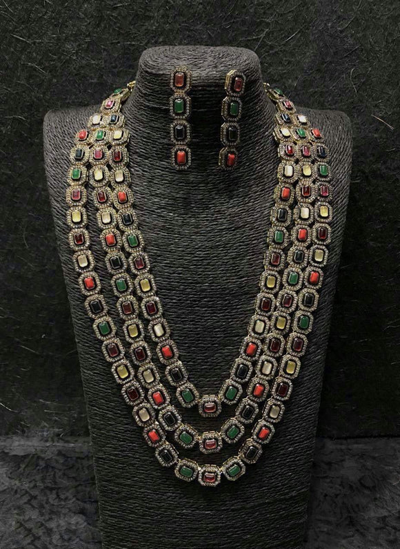 Ad Gunmetal Semi Prescious Stones Necklace - Ishhaara