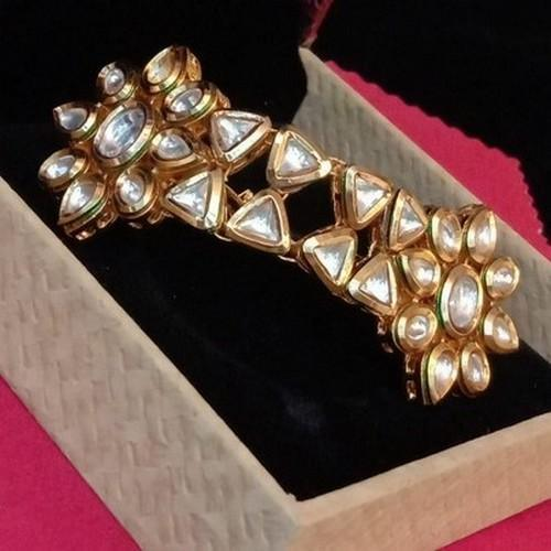 Adjustable HQ Kundan Four-Fingers Ring