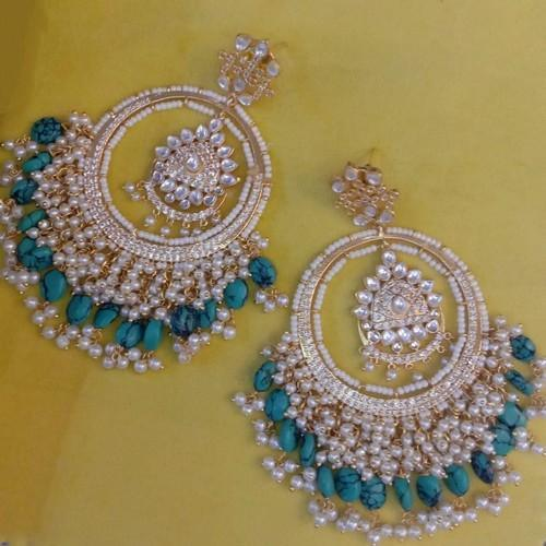 American Diamond Double Layered Chandbali Earrings