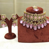 Hand Painted Square Block Meena Choker With Tassel Set
