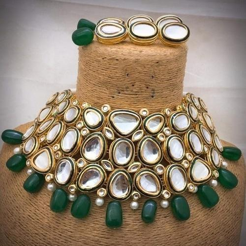 Big Kundan Stone with Meena Necklace - Ishhaara