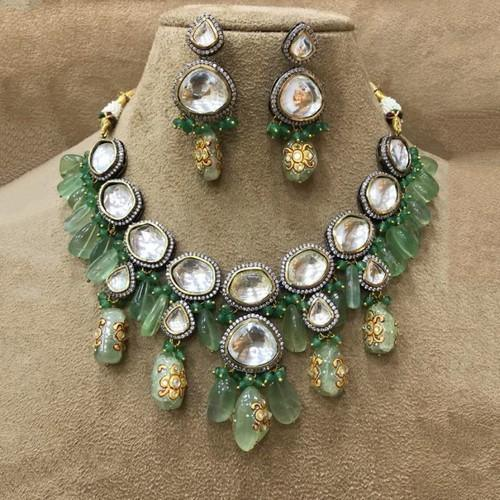 Big Polki Semi Precious Necklace Set