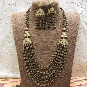 Black Side Patch Layered Necklace - Ishhaara