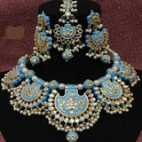 Blue Meenakari 5 Pendant Necklace - Ishhaara