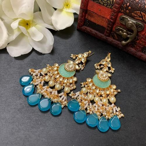 Blue Patchi Pearl Earrings
