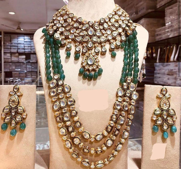 Bridal Long and Short Emerald Green Necklace - Ishhaara