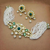 Centre Intricate Kundan Patch Moti Set