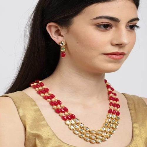 Centre Kundan Red Moti Necklace