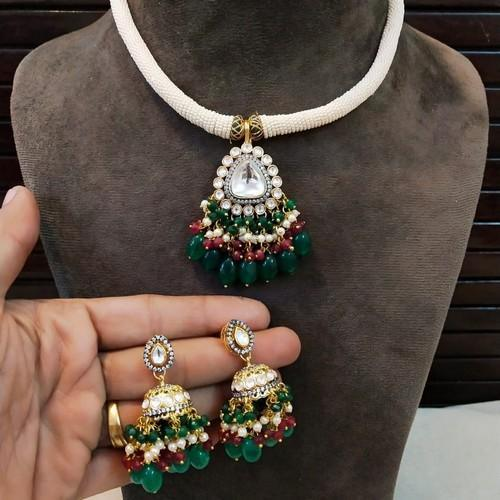 Centre Polki Pendant Moti Trunk Necklace Set