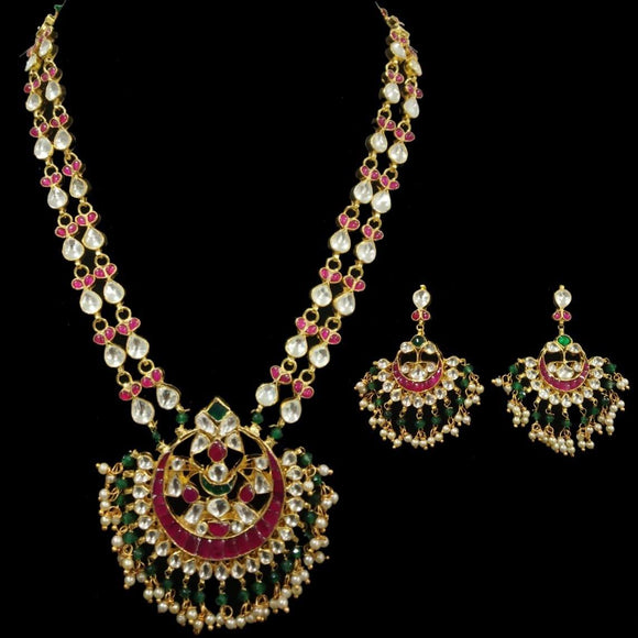 Chand Kundan Necklace With Ruby And Green Stone - Ishhaara