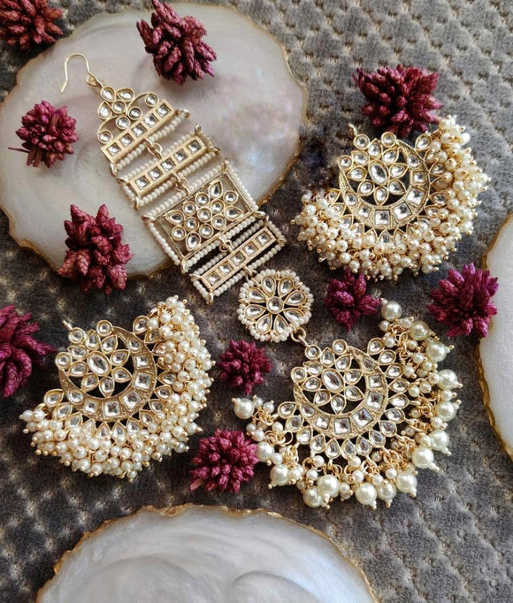 Chandbali Earring Teeka With Motifs - Ishhaara