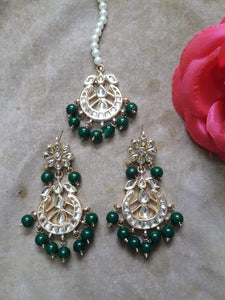 Chandbali Flower Stud Earring And Teeka - Ishhaara