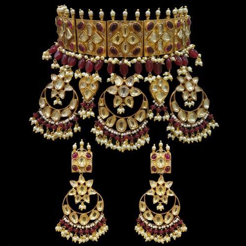 Choker Antique 3 Chandbali Jadau Set