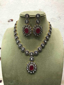 Circle Shaped AD Stone Necklace - Ishhaara