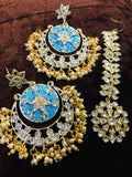 Clever Shape Chandbali Earring With Teeka - Ishhaara
